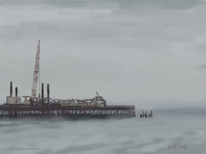 Danny Mooney 'Jack-up barge, Hastings pier, Mist 20/9/2014' iPad painting #APAD
