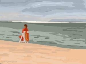Danny Mooney 'Life guard, 1/9/2014' iPad drawing #APAD