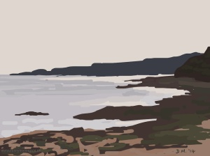 Danny Mooney 'Very low tide, Scarborough, 9/9/2014' iPad painting #APAD