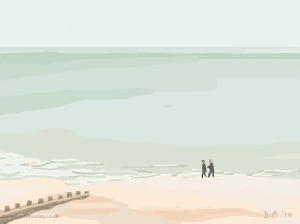 Danny Mooney 'Walking on the beach, 5/9/2014' iPad painting #APAD