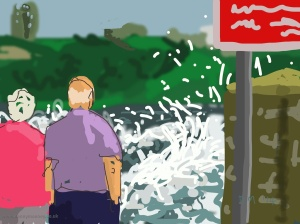 Danny Mooney 'Watching the waves, 8/9/2014' iPad painting #APAD