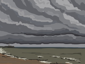 Danny Mooney 'Big clouds, 4/10/2014' iPad painting #APAD