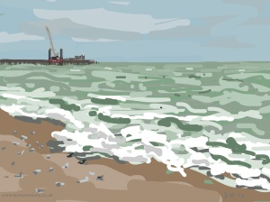 Danny Mooney 'Seagulls on the beach, 7/10/2014' iPad painting #APAD