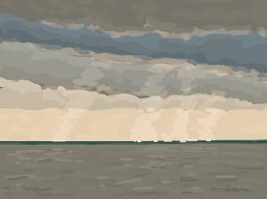 Danny Mooney 'Bright light on the sea, 10/11/2014' iPad painting #APAD