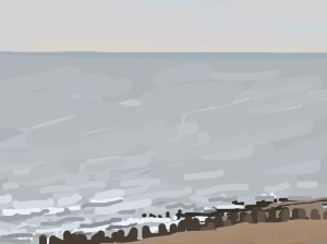 Danny Mooney 'Grey autumnal sea, 28/11/2014' iPad painting #APAD