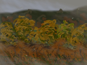 Danny Mooney 'Wet autumn colours from the train, 14/11/2014' iPad painting #APAD