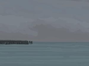 Danny Mooney 'Grey pier and boats, 19/2015' iPad painting #APAD