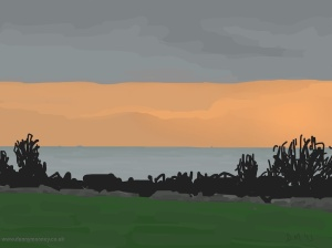 Danny Mooney 'Orange sky again, 22/2015' iPad painting #APAD