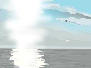 Danny Mooney 'Sun and Seagull, 24/2015' iPad painting #APAD