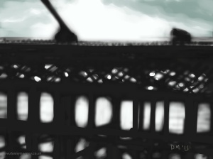 Danny Mooney 'Back lit pier, 2/2/2015' iPad painting #APAD