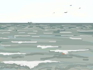 Danny Mooney 'Birds, boat and buoy, 22/2/2015' iPad painting #APAD