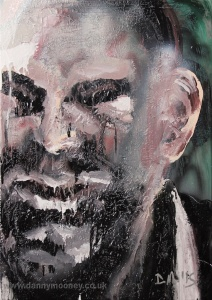 Danny Mooney 'Jeremy' Oil on Stainless steel panel 51x 36 cm