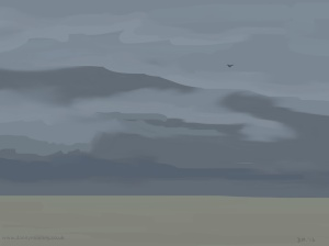 Danny Mooney 'Lone gull, 23/2/2015' iPad painting #APAD
