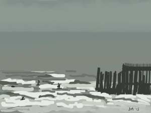 Danny Mooney 'Paddle boarders, 20/2/2015' iPad painting #APAD