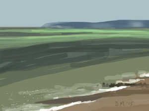 Danny Mooney 'Misty headland, 16/5/2015' iPad painting #APAD