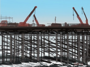 Danny Mooney 'Pier cranes, 21/5/2015' iPad painting #APAD