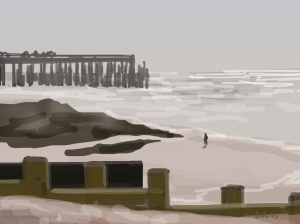 Danny Mooney 'Walking at low tide, 22/5/2015' iPad painting #APAD