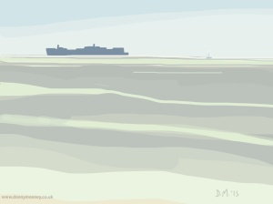 Danny Mooney 'Big ship, far away ship, 23/6/2015' iPad painting #APAD