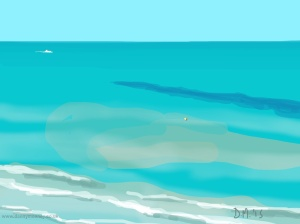 Danny Mooney 'Boat and buoy, 7/6/2015' iPad painting #APAD