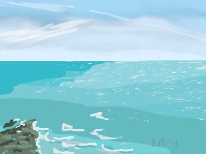 Danny Mooney 'Contrails, blue sea, 24/6/2015' iPad painting #APAD