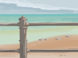 Danny Mooney 'Birds on the beach, 5/7/2015' iPad painting #APAD