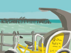 Danny Mooney 'Seashore Rickshaw, 11/7/2015' iPad painting #APAD
