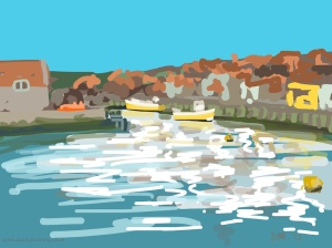 Danny Mooney 'Yellow boats, Whitby, 3/7/2015' iPad painting #APAD