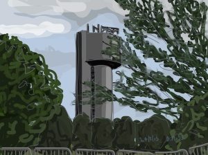 Danny Mooney 'Experimental tower, Daresbury, 24/8/2015' iPad painting #APAD