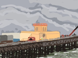 Danny Mooney 'Hastings pier repairs, 27/8/2015' iPad painting #APAD