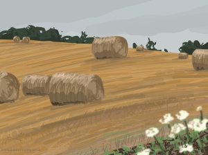 Danny Mooney 'More hay bales, 11/8/2015' iPad painting #APAD