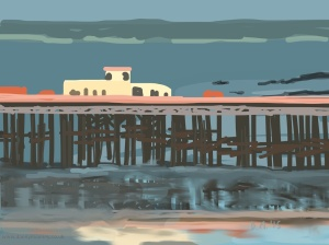 Danny Mooney 'Pier reflections, 17/8/2015' iPad painting #APAD