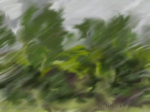Danny Mooney 'Rain on the train, 26/8/2015' iPad painting #APAD