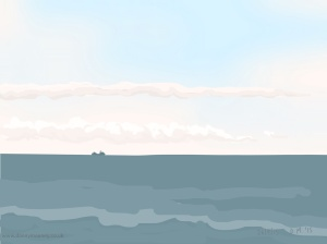 Danny Mooney 'Blue-grey sea, 26/9/2015' iPad painting #APAD