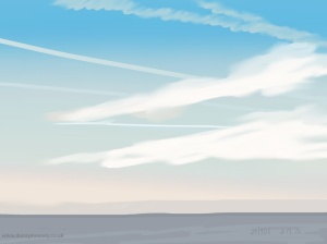 Danny Mooney 'Contrails, 29/9/2015' iPad painting #APAD