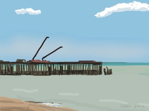 Danny Mooney 'Pier, blue sky, 23/9/2015' iPad painting #APAD