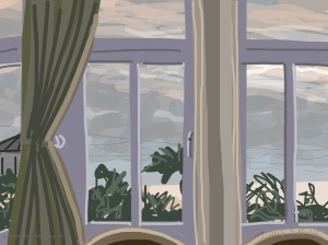 Danny Mooney 'Danny Mooney 'Room 1, Pebble beach B and B with Purple windows, 11/10/2015' iPad painting #APAD