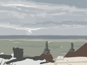 Danny Mooney 'Looking over the Whiterock, 27/11/2015' iPad painting #APAD