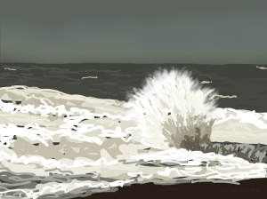 Danny Mooney 'Breaker on the concrete groyne, 22/12/2015' iPad painting #APAD