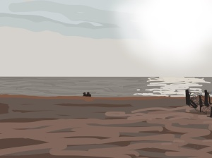 Danny Mooney 'Couple on the beach, 1/12/2015' iPad painting #APAD