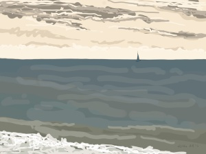 Danny Mooney 'Distant sail, 12/12/2015' iPad painting #APAD