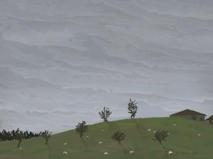 Danny Mooney 'Kirkham, from the train, 19/12/2015' iPad painting #APAD