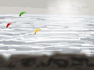 Danny Mooney 'Kitesurfing, (from the train), 31/12/2015' iPad painting #APAD