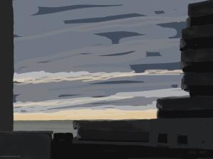 Danny Mooney 'Marine Court, 2/12/2015' iPad painting #APAD