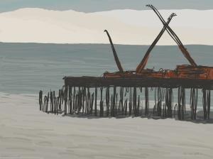 Danny Mooney 'Pier construction, 14/12/2015' iPad painting #APAD