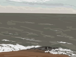 Danny Mooney 'Rough sea, beach, 25/12/2015' iPad painting #APAD