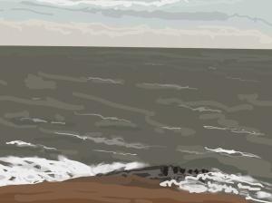 Danny Mooney 'Rough sea, beach, 25/12/2015' iPad painting #APAD