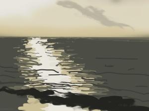 Danny Mooney 'Sun on sea, 17/12/2015' iPad painting #APAD
