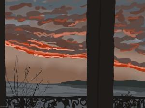 Danny Mooney 'Sunrise, Scarborough #1, 18/12/2015' iPad painting #APAD
