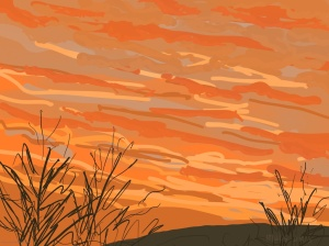 Danny Mooney 'Sunrise, Scarborough #2, 18/12/2015' iPad painting #APAD