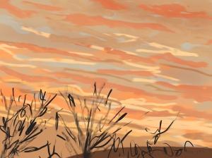 Danny Mooney 'Sunrise, Scarborough #3, 18/12/2015' iPad painting #APAD
